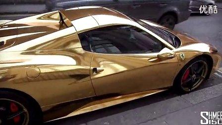 街头实拍电镀金法拉利458敞篷高清图片