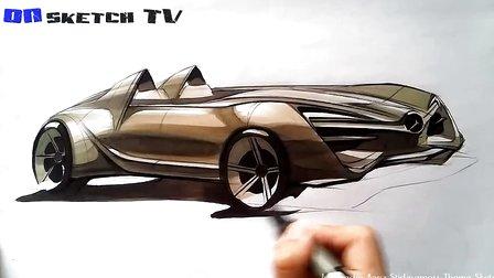 奔驰汽车设计手绘AD马克笔上色教程